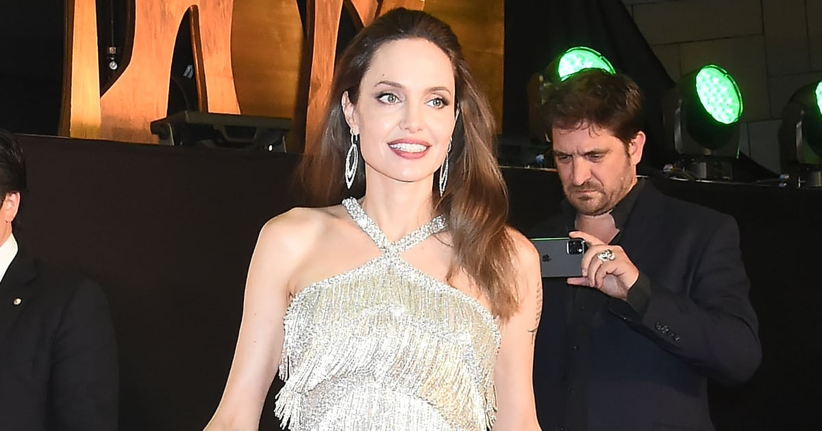 Angelina Jolie Silver Fringed Dress at Maleficent 2 Premiere